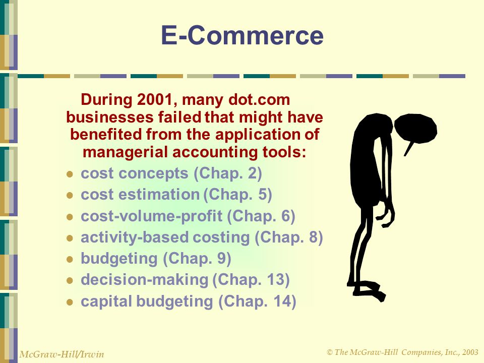E-Commerce During 2001, many dot.com businesses failed that might have benefited from the application of managerial accounting tools:
