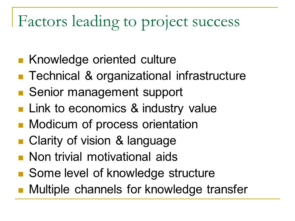 project success factor close out The process of prefabrication housing production (php) has been inevitably faced with diverse challenges a number of factors affect the successful implementation of php however, the critical success factors (csfs) remain unrevealed this paper aims to examine the csfs for the planning and control of.