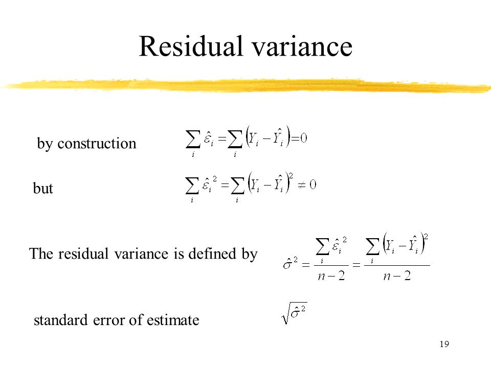 Residual variance by construction but