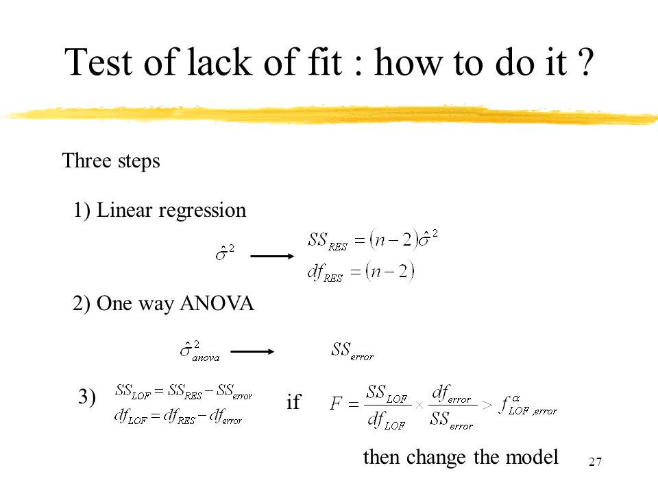 Test of lack of fit : how to do it