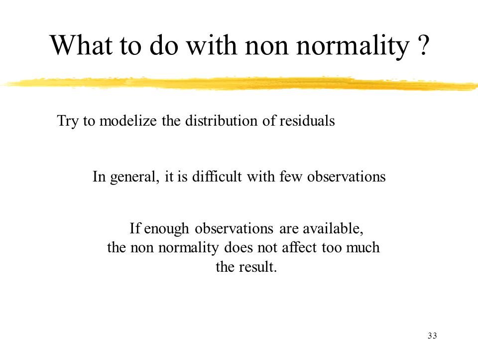 What to do with non normality