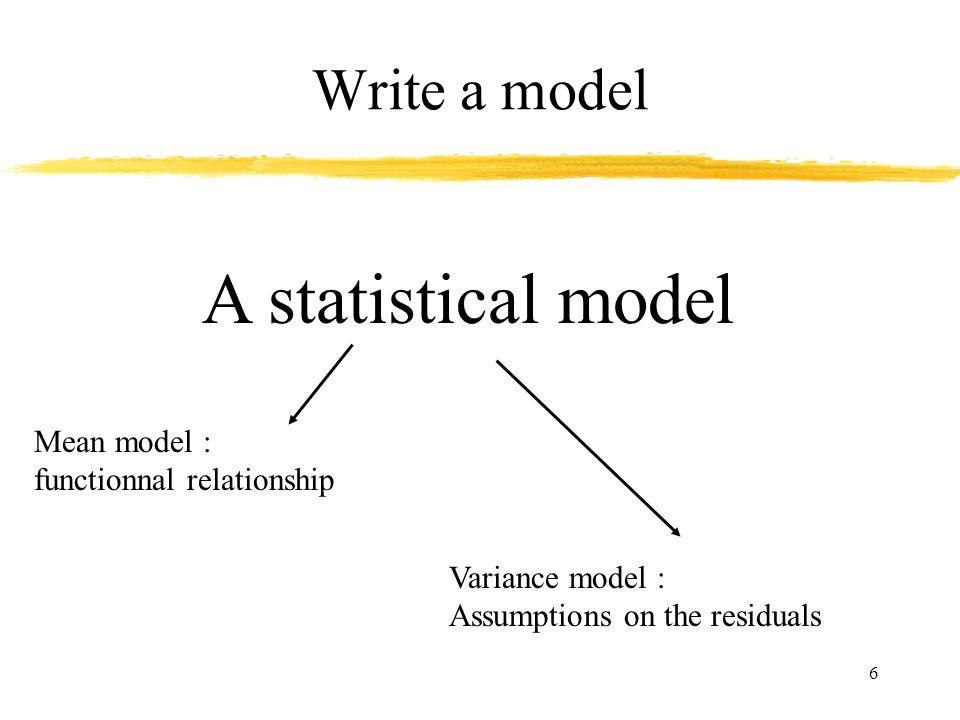 A statistical model Write a model Mean model :