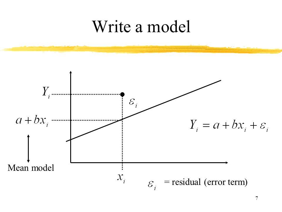 Write a model Mean model = residual (error term)