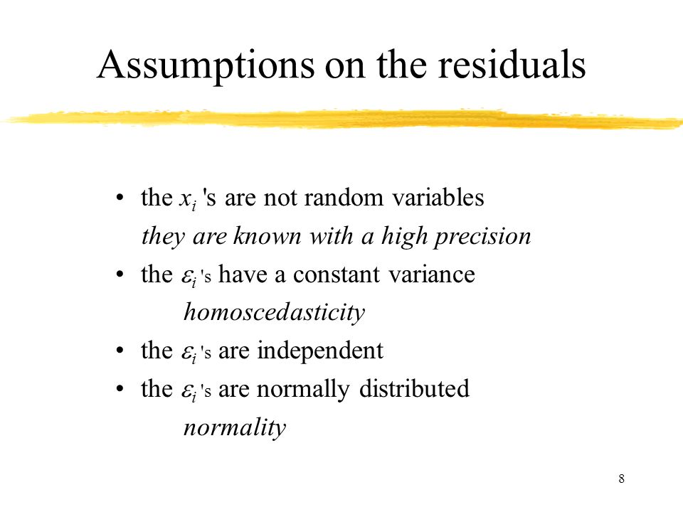 Assumptions on the residuals