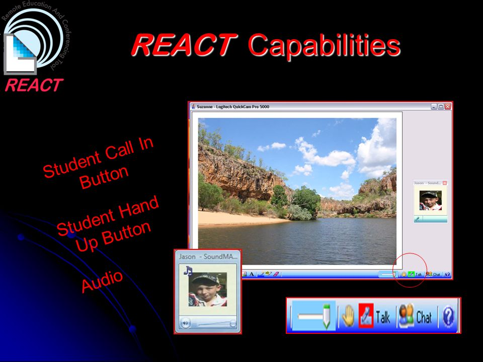 REACT Capabilities Student Call In Button Student Hand Up Button Audio