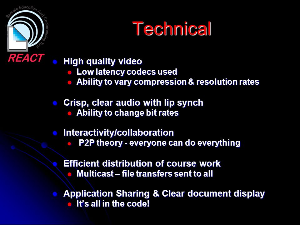Technical High quality video Crisp, clear audio with lip synch