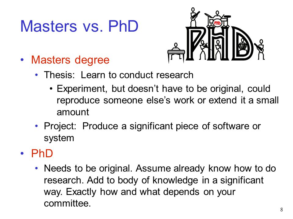 Masters vs. PhD Masters degree PhD Thesis: Learn to conduct research