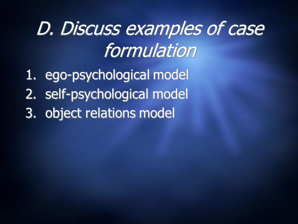 object relations case formulation Case formulation in psychotherapy: revitalizing its usefulness as a clinical tool  object relations,  case formulation in psychotherapy is a useful clinical.