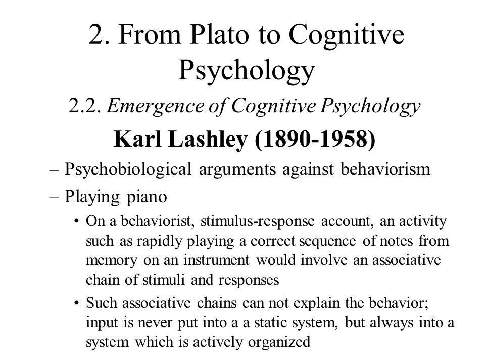 karl lashley psychology Karl spencer lashley (june 7, 1890 – august 7, 1958) was an american  psychologist and behaviorist, well remembered for his influential.