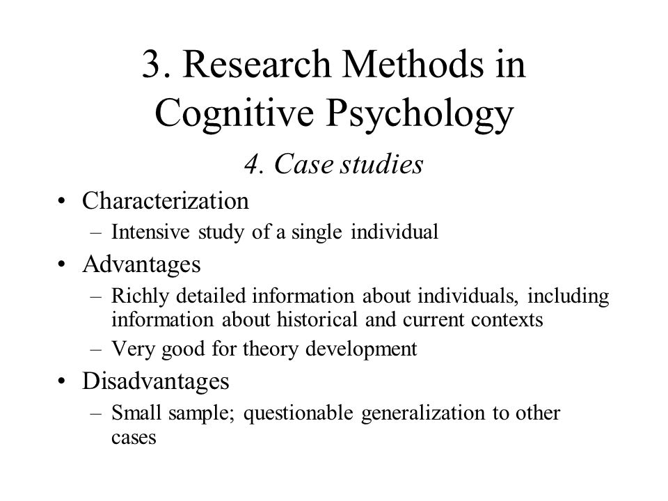 psychology research methods in cognitive level