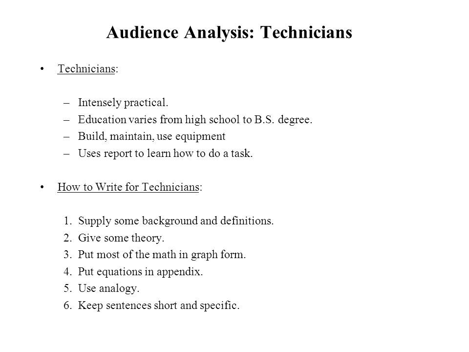 Technical writing services audience analysis