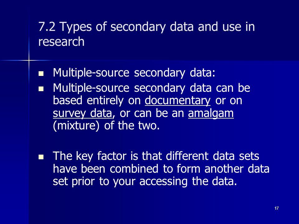 types of research data When working with statistics, it's important to recognize the different types of data: numerical (discrete and continuous), categorical, and ordinal data are the actual pieces of information that you collect through your study for example, if you ask five of your friends how many pets they own.