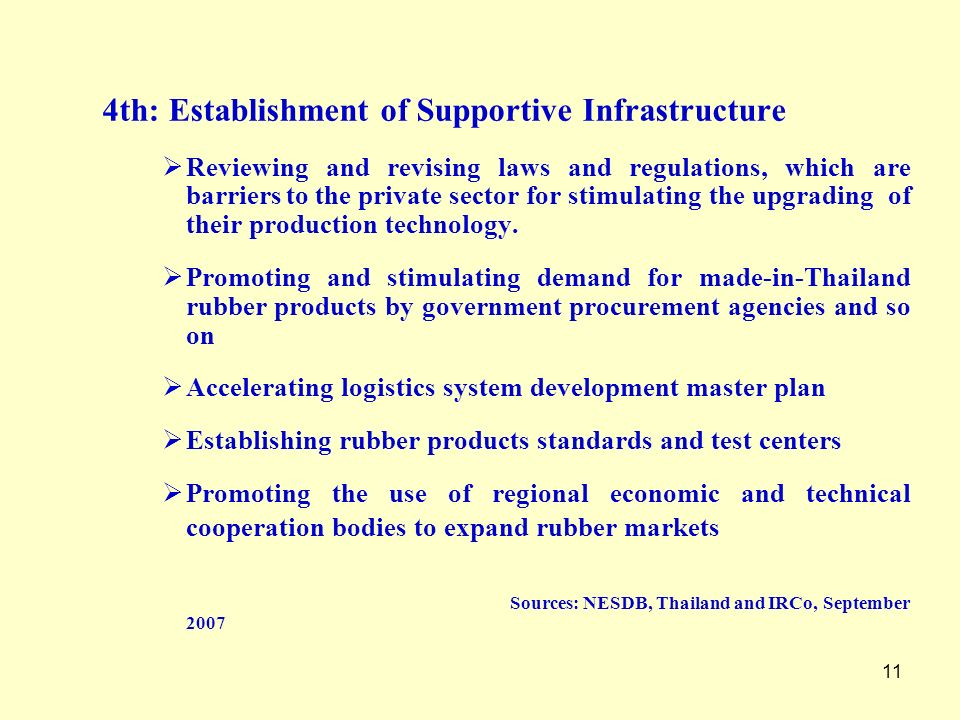 4th: Establishment of Supportive Infrastructure
