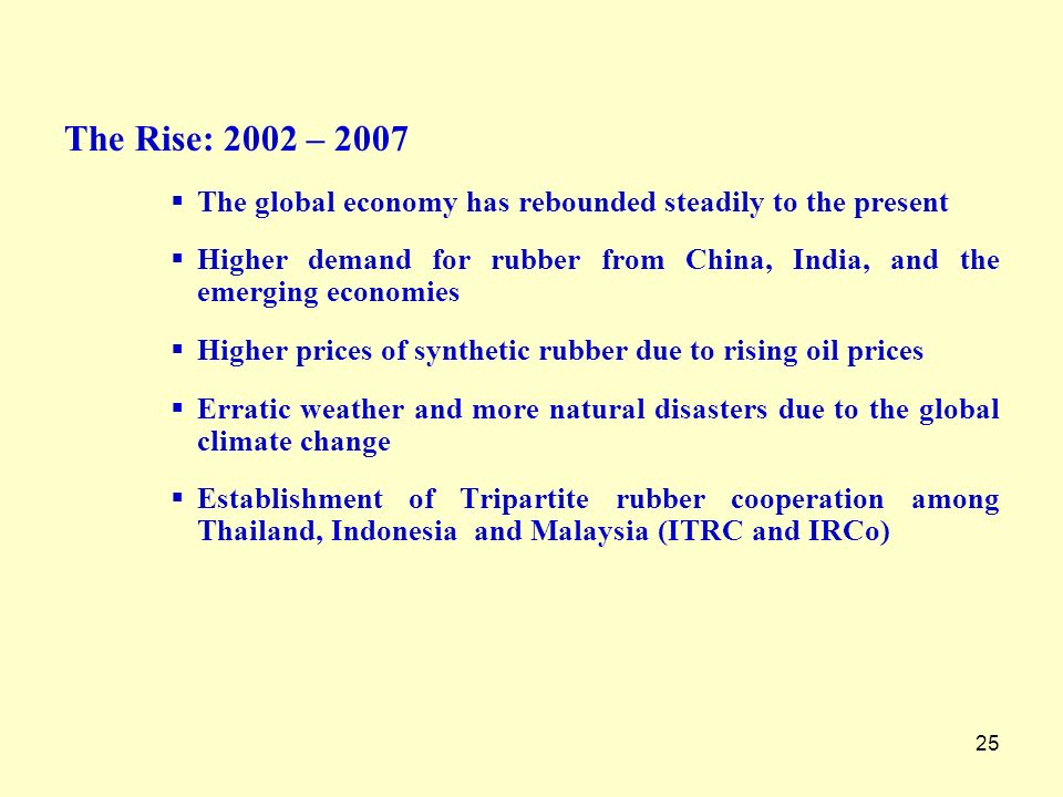 The Rise: 2002 – 2007 The global economy has rebounded steadily to the present.
