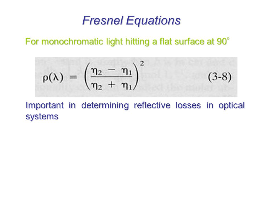 Fresnel Equations For monochromatic light hitting a flat surface at 90º.
