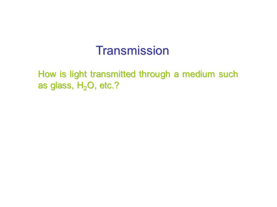 Transmission How is light transmitted through a medium such as glass, H2O, etc.
