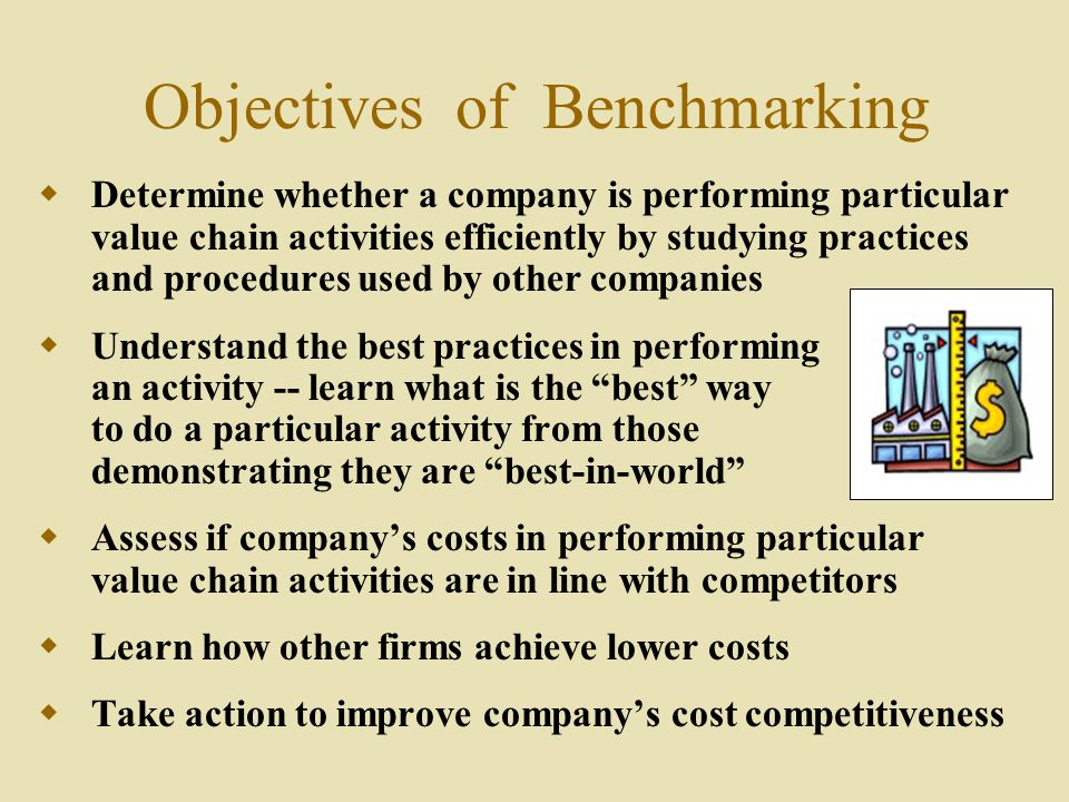 value chain and benchmarking in company analysis Value chain analysis & benchmarkingpresented by shrabani  nayak  financial benchmarking investor's perspective benchmarking internal .