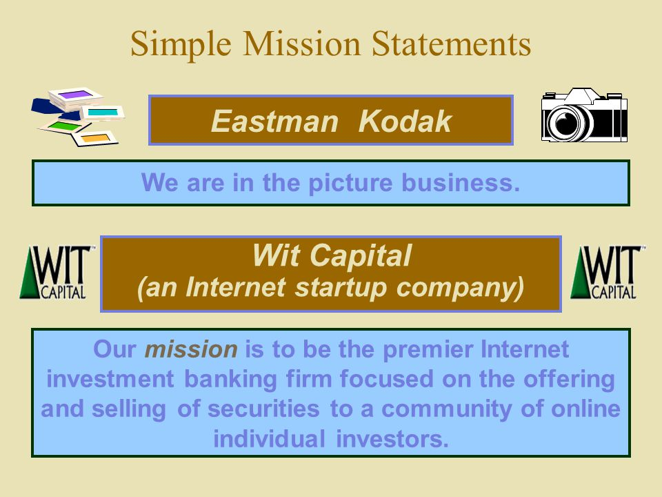 """kodak strategic vision statement """"kill kodak"""" it can be seen to fulfill all the requirements above in two words vision statements which are this succinct are rare, but this should be the aspiration."""