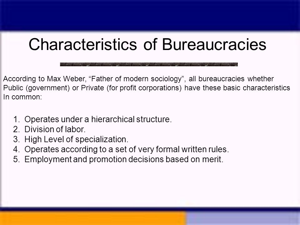 Chapter 16 the bureaucracy ppt video online download for 6 characteristics of bureaucracy