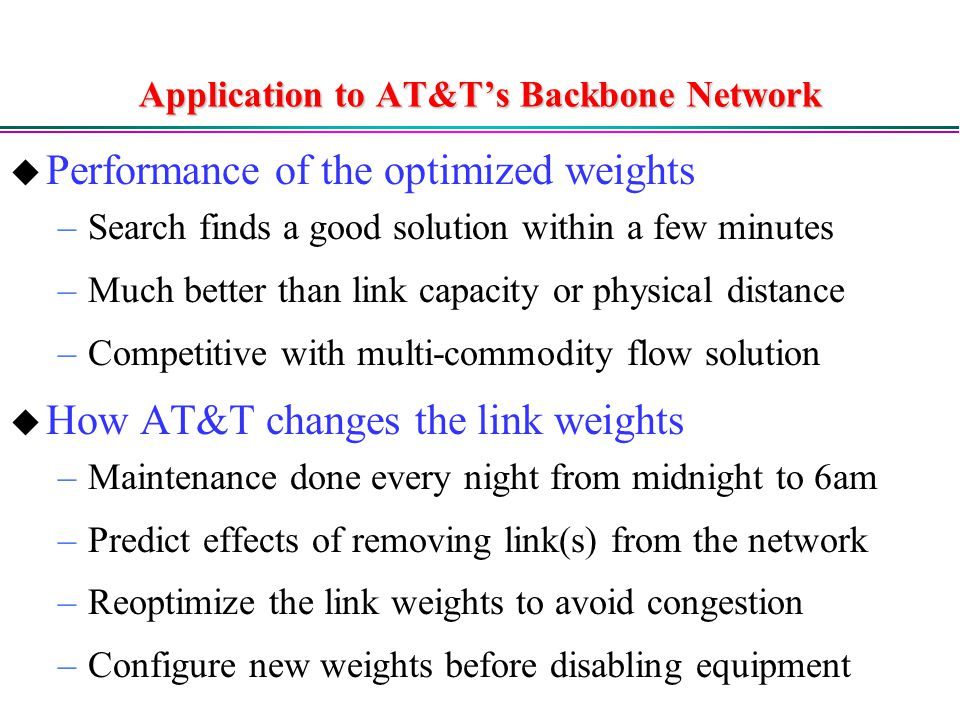 Application to AT&T's Backbone Network