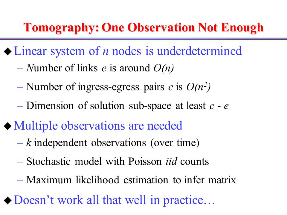 Tomography: One Observation Not Enough
