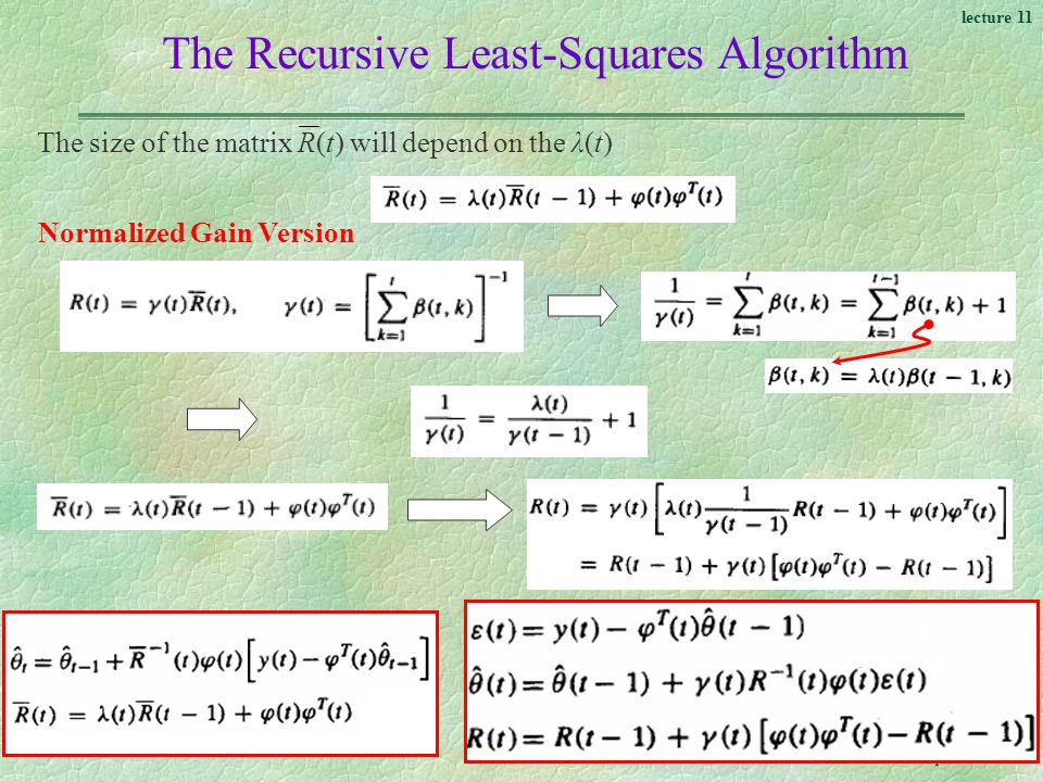 The Recursive Least-Squares Algorithm