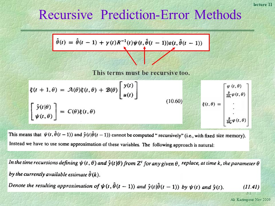 Recursive Prediction-Error Methods