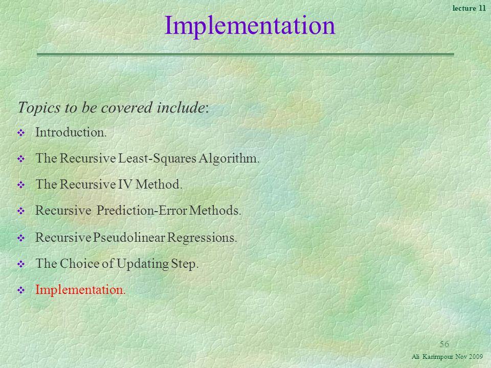Implementation Topics to be covered include: Introduction.