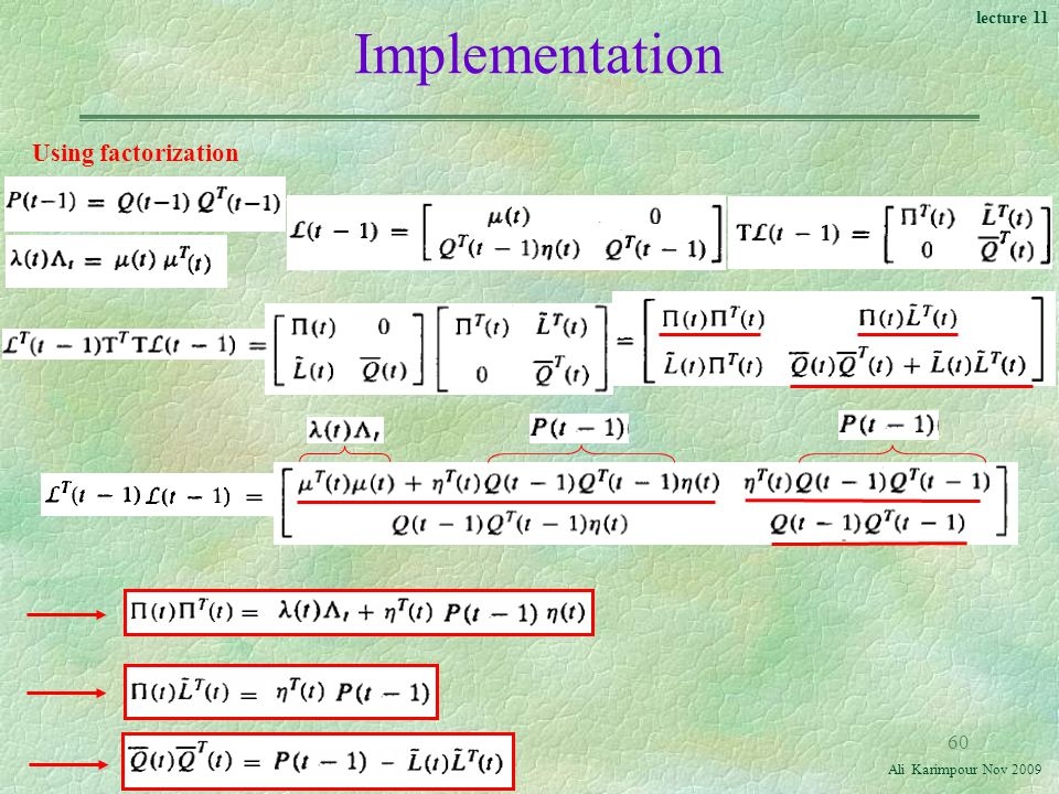 Implementation Using factorization