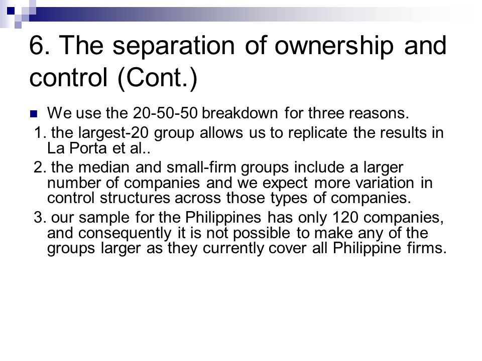 divorce of ownership and control (a)indirect ownership interest the amount of indirect ownership interest is  determined by multiplying the percentages of ownership in each.