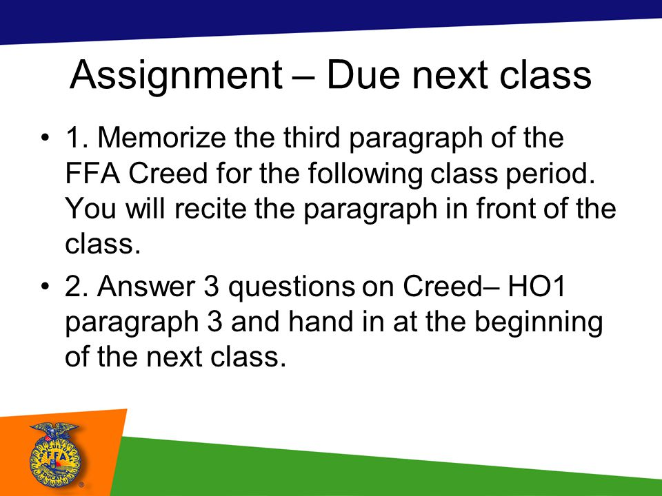 Assignment – Due next class