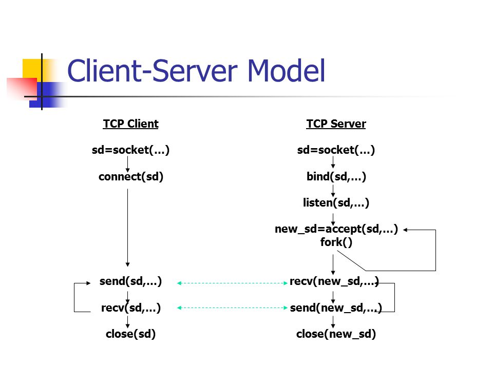 Client-Server Model TCP Client sd=socket(…) connect(sd) send(sd,…)
