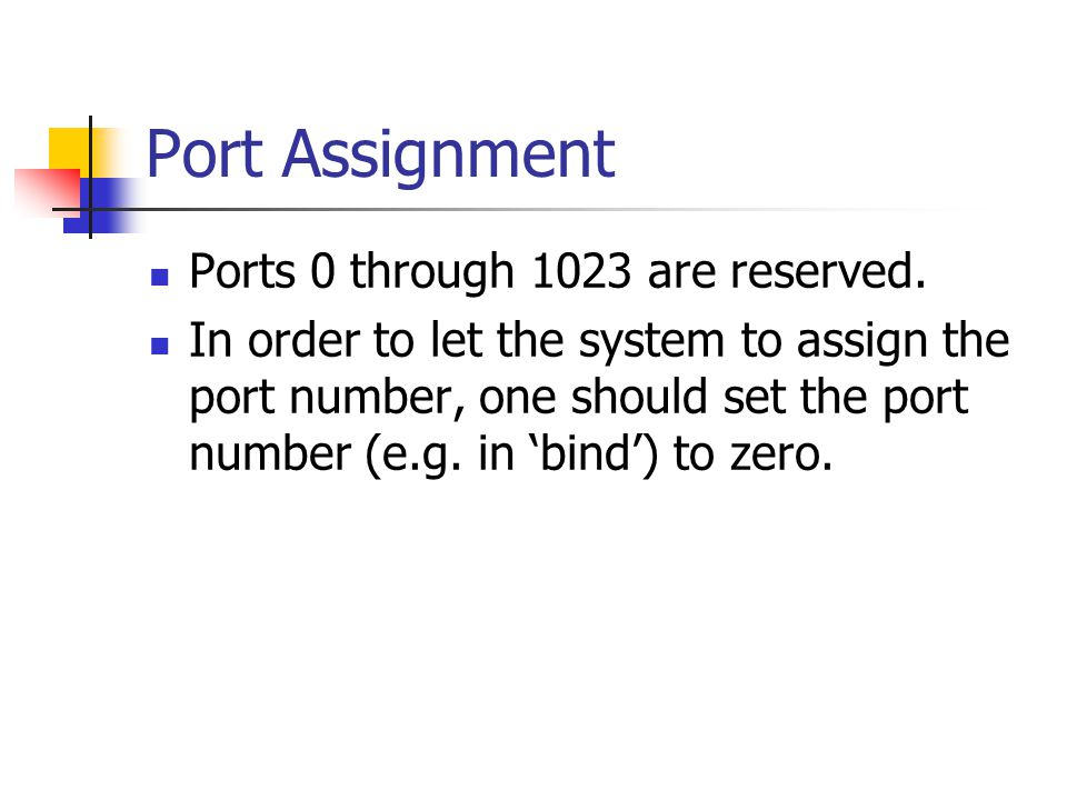 Port Assignment Ports 0 through 1023 are reserved.