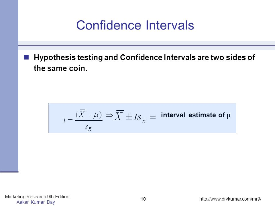 Confidence Intervals Hypothesis testing and Confidence Intervals are two sides of the same coin.  interval estimate of 
