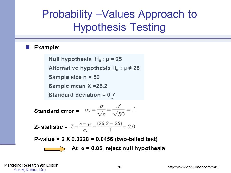 Probability –Values Approach to Hypothesis Testing