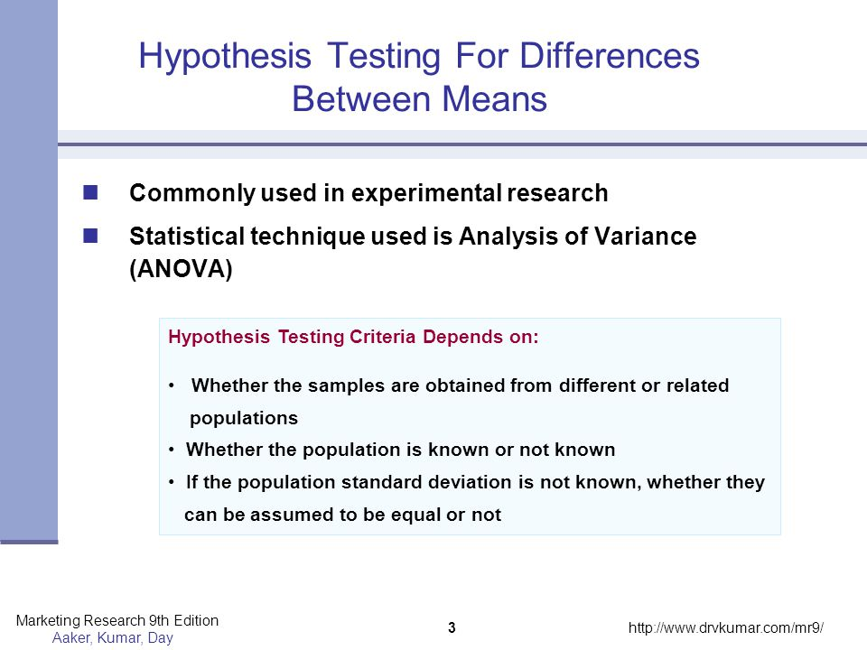 Hypothesis Testing For Differences Between Means
