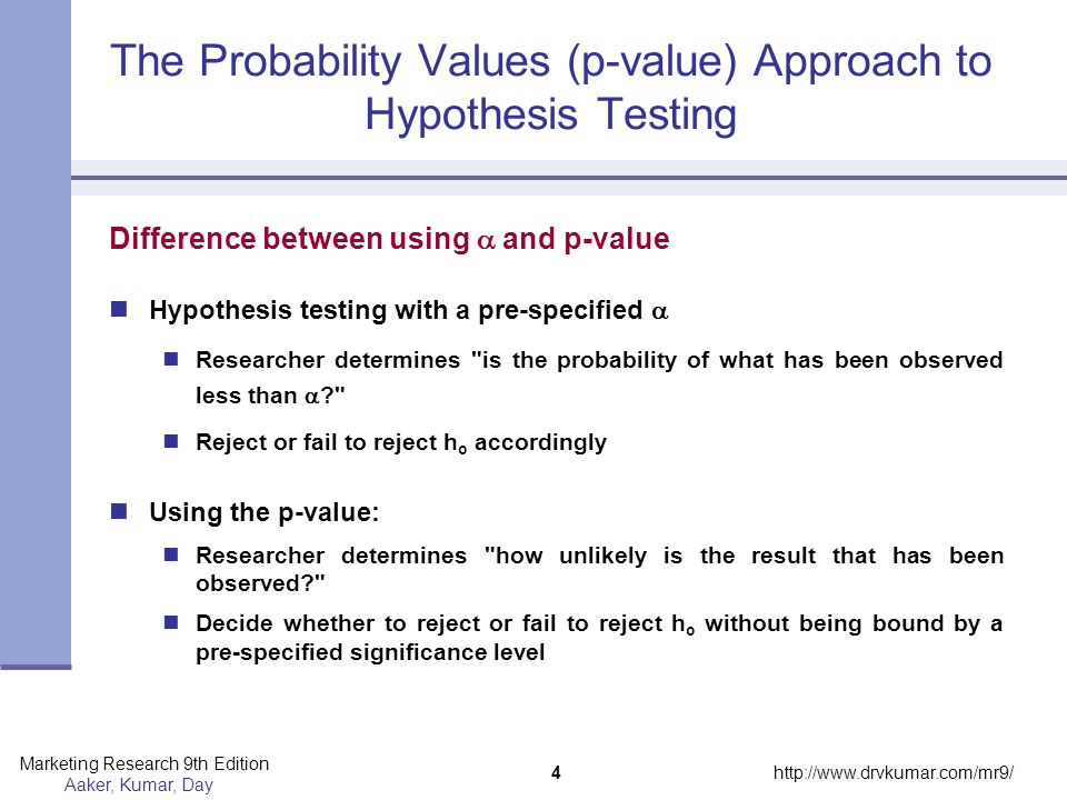 The Probability Values (p-value) Approach to Hypothesis Testing