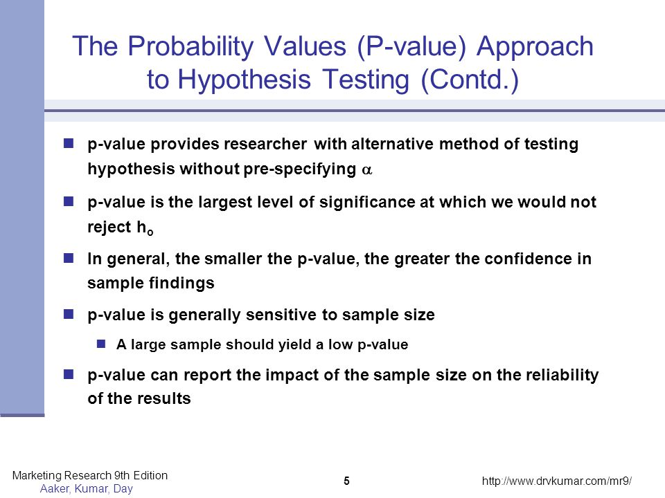The Probability Values (P-value) Approach to Hypothesis Testing (Contd