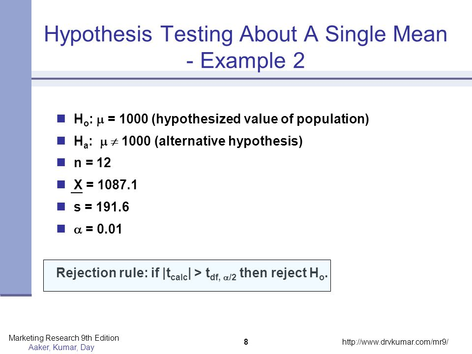 Hypothesis Testing About A Single Mean - Example 2