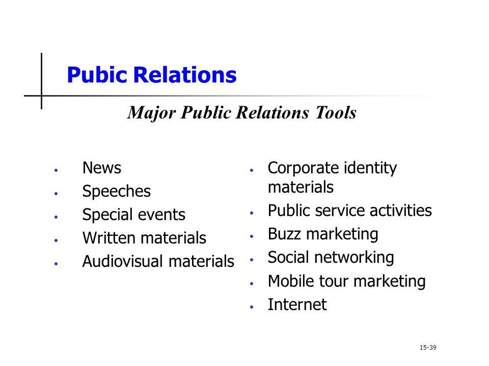 Major Public Relations Tools