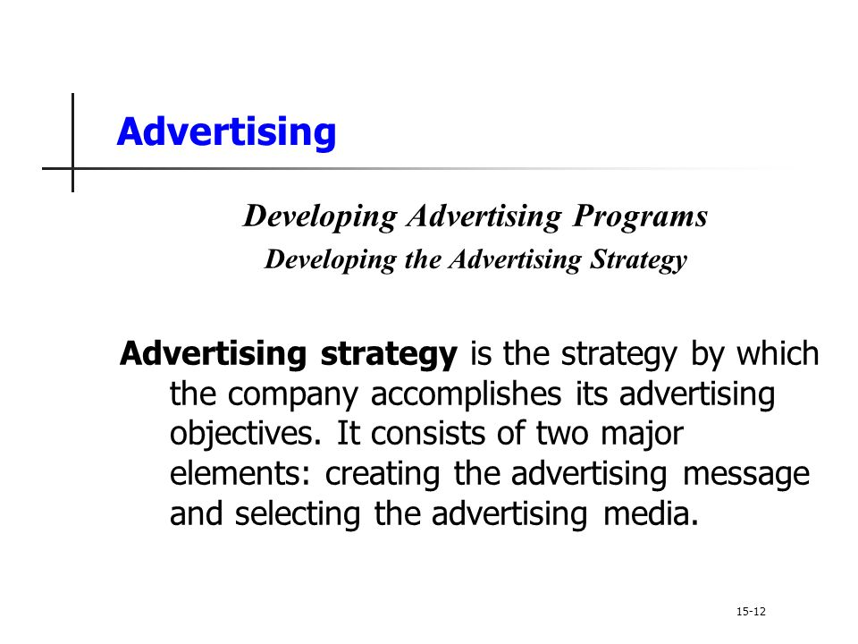 Developing Advertising Programs Developing the Advertising Strategy