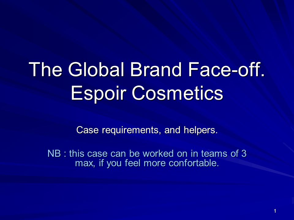 the global brand face off Video of espoir cosmetics(the global brand face-off) the case which changed my perception about branding.