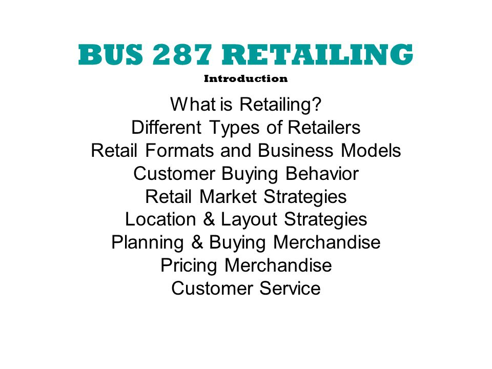 different types of retailing business plan