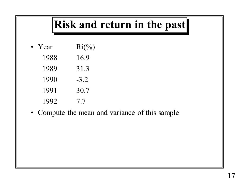 Risk and return in the past