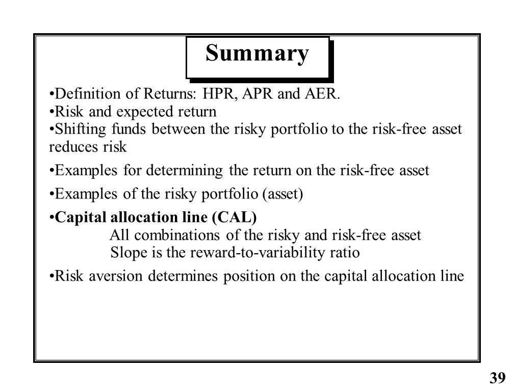 Summary Definition of Returns: HPR, APR and AER.