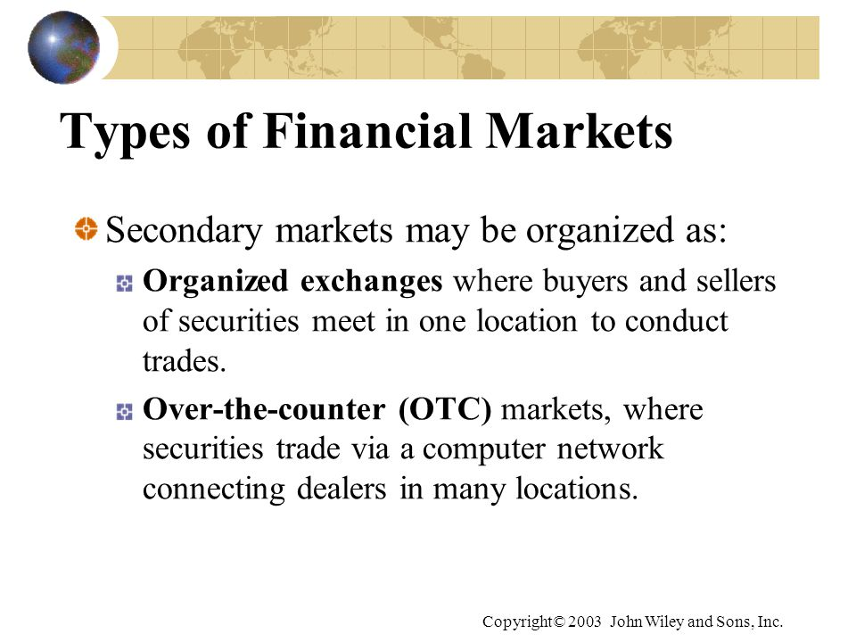 Overview of financial markets institutions and