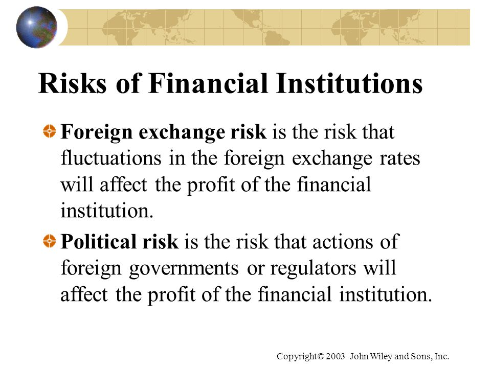 risks of financial institutions This risk of too big to fail entities increases the likelihood of a government although the financial institutions that were bailed out were indeed important.
