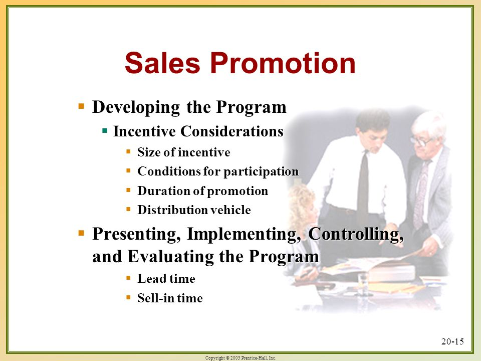 Sales Promotion Developing the Program