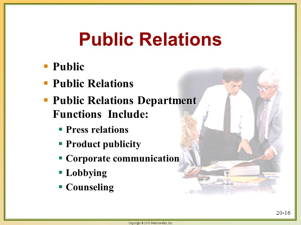 Roles of Public Relations in an Organization