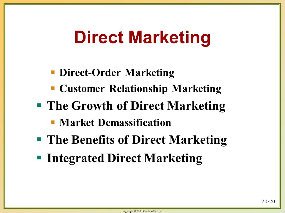 Direct Marketing The Growth of Direct Marketing